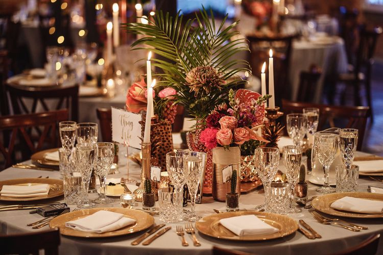 Foliage and Flower Stems in Vases as Table Centrepieces