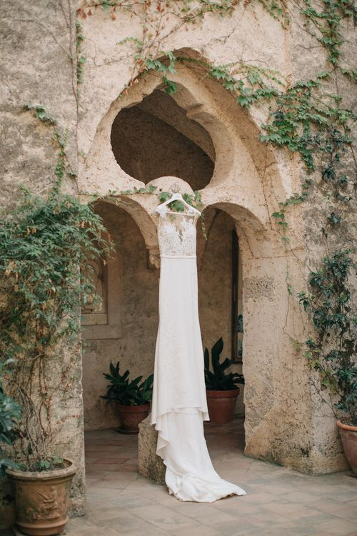 Pronovias Bridal Gown with Lace Illusion Neckline | Three Day Ravello Wedding at Villa Cimbrone on Amalfi Coast Italy |  M & J Photography | Marco Caputo Films
