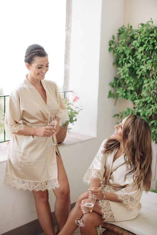 Bridesmaids Getting Read Robes | Three Day Ravello Wedding at Villa Cimbrone on Amalfi Coast Italy |  M & J Photography | Marco Caputo Films