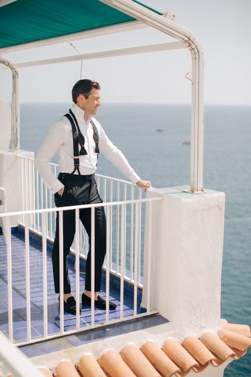 Groom in Gieves and Hawkes Black Tie Suit | Three Day Ravello Wedding at Villa Cimbrone on Amalfi Coast Italy |  M & J Photography | Marco Caputo Films