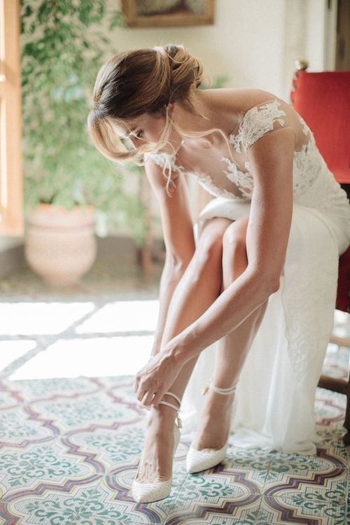 Bride in Pronovias Wedding Dress & Tom Ford Bridal Shoes | Three Day Ravello Wedding at Villa Cimbrone on Amalfi Coast Italy |  M & J Photography | Marco Caputo Films