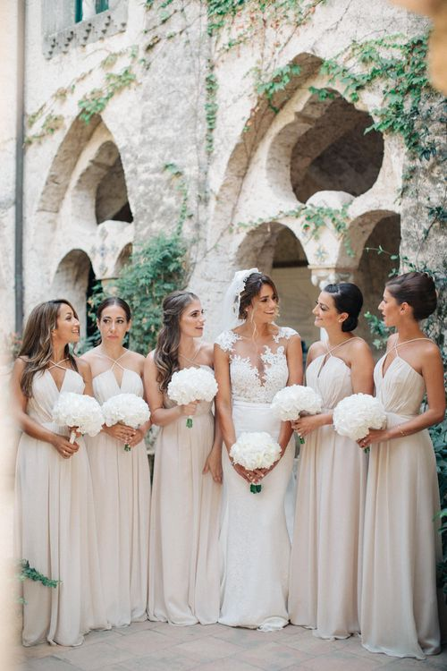 Bridal Party | Bridesmaids in Beige Halterneck Dresses | Bride in Lace Illusion Neck Pronovias Gown | Three Day Ravello Wedding at Villa Cimbrone on Amalfi Coast Italy |  M & J Photography | Marco Caputo Films