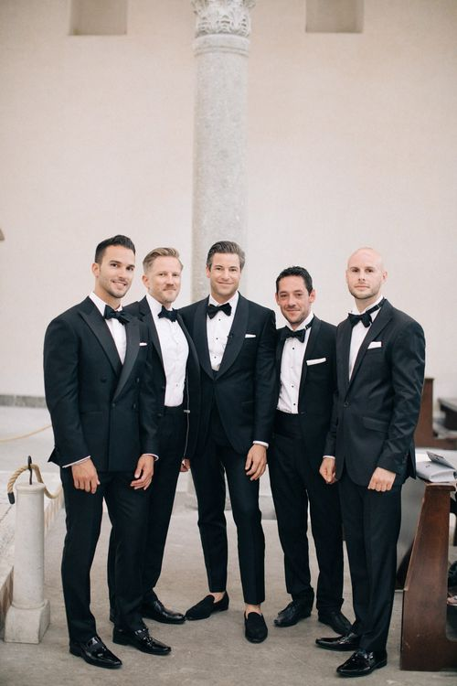 Groomsmen in Gieves and Hawkes Black Tie Suits | Three Day Ravello Wedding at Villa Cimbrone on Amalfi Coast Italy |  M & J Photography | Marco Caputo Films