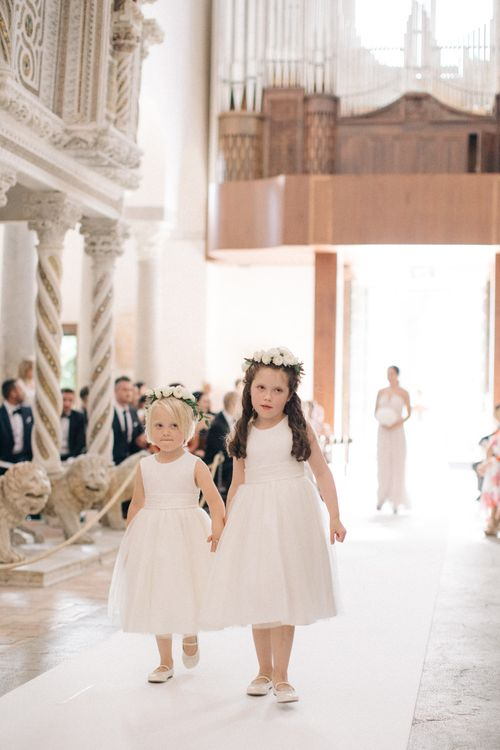 Flower Girls in White Dresses & Flower Crowns | Three Day Ravello Wedding at Villa Cimbrone on Amalfi Coast Italy |  M & J Photography | Marco Caputo Films
