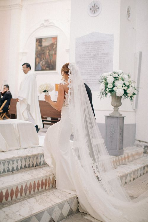 Wedding Ceremony | Bride in Pronovias Gown & Veil | Three Day Ravello Wedding at Villa Cimbrone on Amalfi Coast Italy |  M & J Photography | Marco Caputo Films