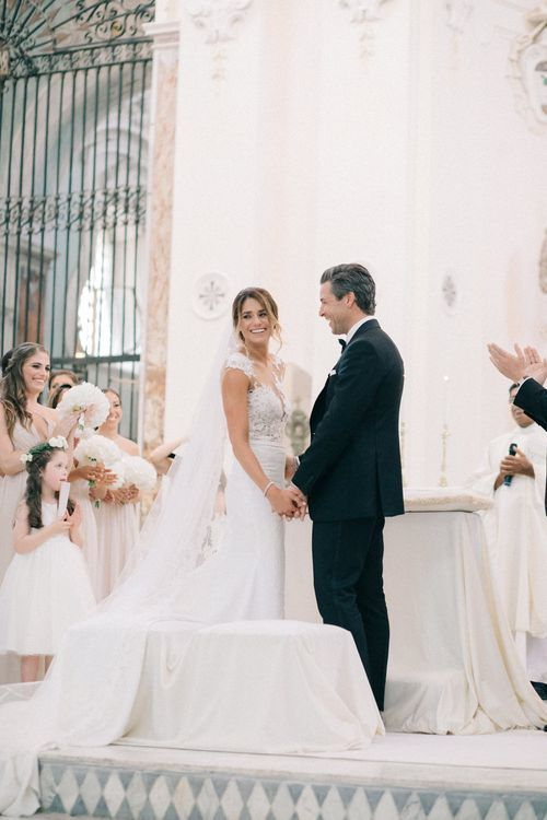 Wedding Ceremony | Bride in Lace Illusion Neckline Wedding Dress | Groom in Black Tie Gieves & Hawkes Suit | Three Day Ravello Wedding at Villa Cimbrone on Amalfi Coast Italy |  M & J Photography | Marco Caputo Films