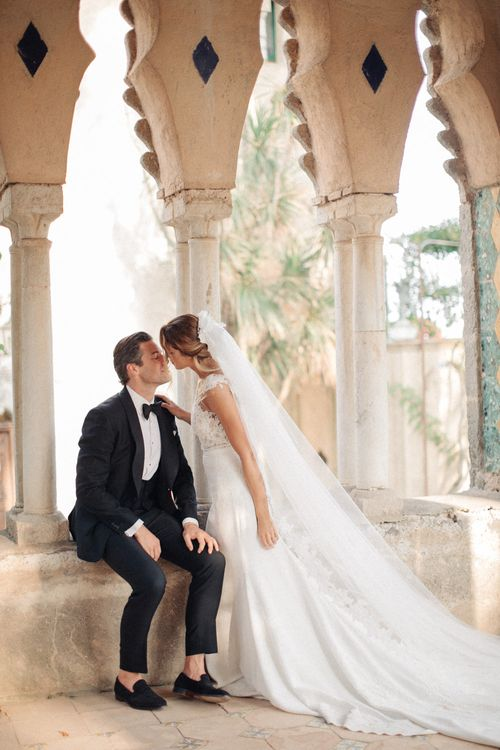 Bride in Lace Illusion Neckline Wedding Dress | Groom in Black Tie Gieves & Hawkes Suit | Three Day Ravello Wedding at Villa Cimbrone on Amalfi Coast Italy |  M & J Photography | Marco Caputo Films