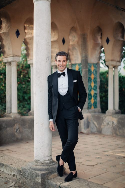 Groom in Black Tie Gieves & Hawkes Suit | Three Day Ravello Wedding at Villa Cimbrone on Amalfi Coast Italy |  M & J Photography | Marco Caputo Films