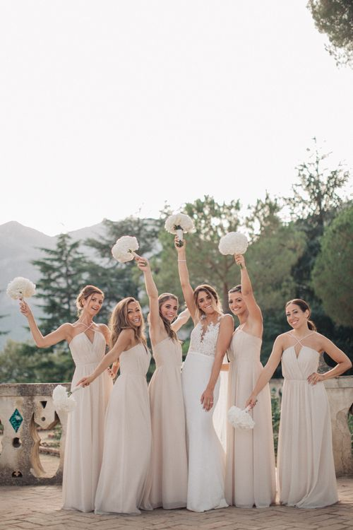 Bridal Party | Bride in Lace Illusion Neckline Wedding Dress | Bridesmaids in Nude Halterneck Dresses | Three Day Ravello Wedding at Villa Cimbrone on Amalfi Coast Italy |  M & J Photography | Marco Caputo Films