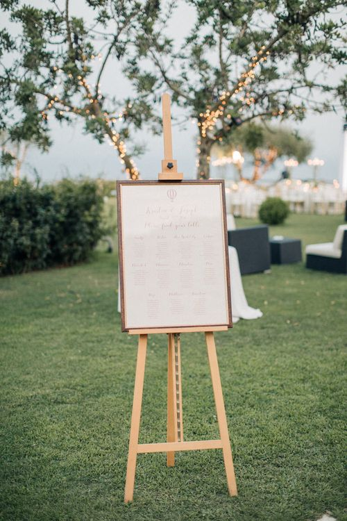 Table Plan on an Easel | Three Day Ravello Wedding at Villa Cimbrone on Amalfi Coast Italy |  M & J Photography | Marco Caputo Films