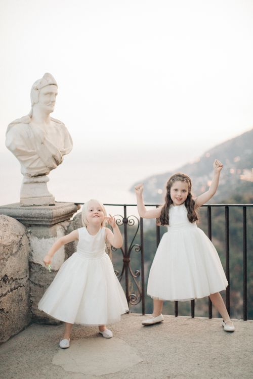Flower Girls in White Dresses | Three Day Ravello Wedding at Villa Cimbrone on Amalfi Coast Italy |  M & J Photography | Marco Caputo Films