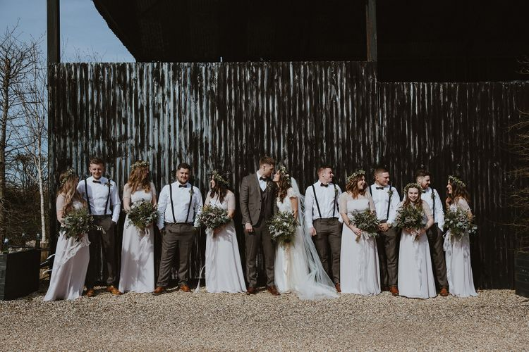 Wedding Party Portrait with Bride, Groom, Bridesmaids and Groomsmen