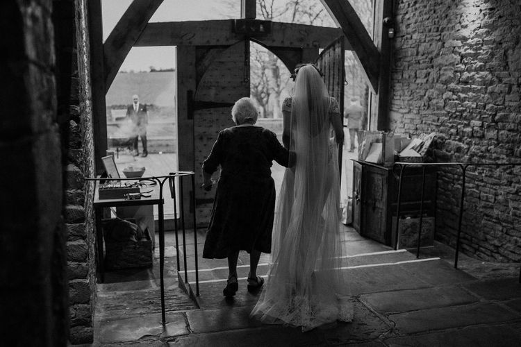 Black and White Picture of Bride and Her Granny
