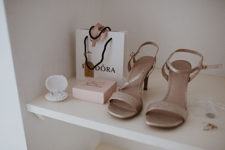 Bridal Accessories Including Shoes, Earrings and PANDORA gift Bag