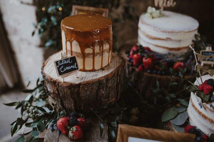Salted Caramel Drip Wedding Cake on a Tree Stump Cake Stand