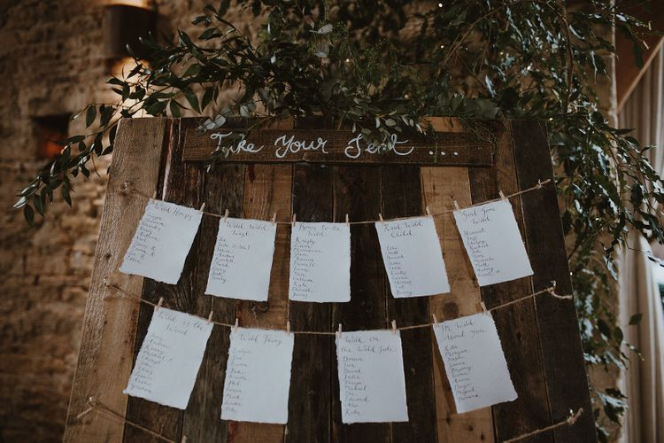 Wooden Door Table Plan with Hung Up Table Names