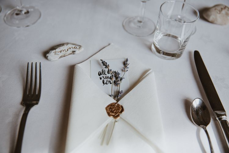 Place Setting with Wax Seal Napkin and Lavender Sprig