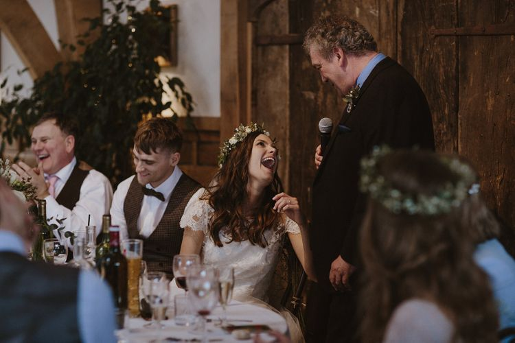 Daughter Laughing During Father of The Bride Wedding Speech