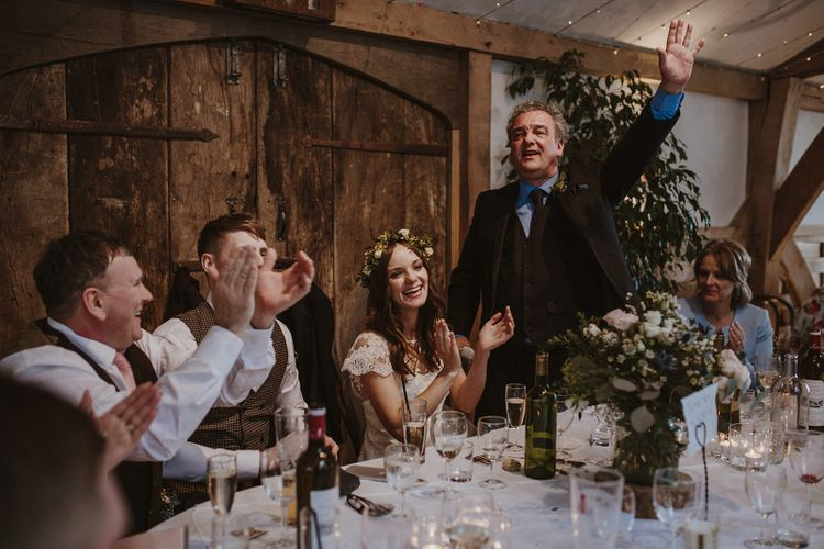Guests Clapping During Father of The Bride Wedding Speech