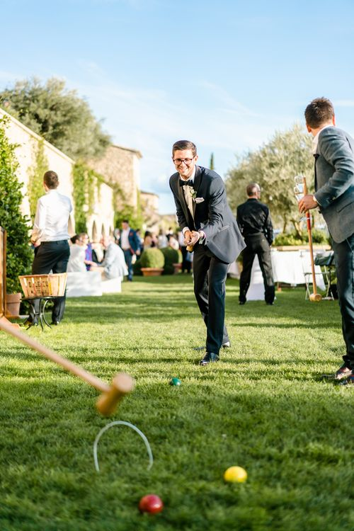 Garden Games | Luxe Pink & White Destination Wedding at La Bastide de Gordes in Provence, France, Styled by Haute Wedding | John Barwood Photography | Motion Craft Creative