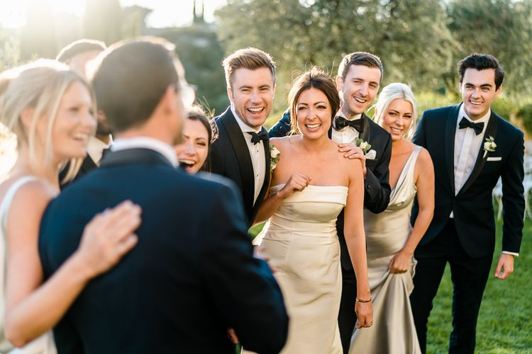 Wedding Party | Bride in Carolina Herrera  Gown | Bridesmaids in Amanda Wakeley Dresses | Groomsmen in Black Tie | Luxe Pink & White Destination Wedding at La Bastide de Gordes in Provence, France, Styled by Haute Wedding | John Barwood Photography | Motion Craft Creative