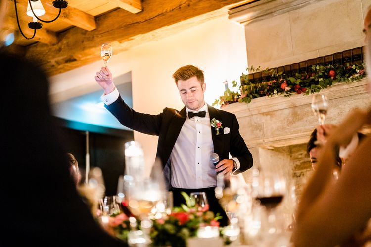 Wedding Reception Grooms Speeches | Luxe Pink & White Destination Wedding at La Bastide de Gordes in Provence, France, Styled by Haute Wedding | John Barwood Photography | Motion Craft Creative