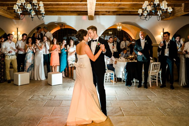 First Dance | Luxe Pink & White Destination Wedding at La Bastide de Gordes in Provence, France, Styled by Haute Wedding | John Barwood Photography | Motion Craft Creative