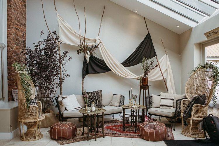 Wedding seating area and decor with supermarket wedding cake