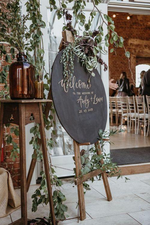 Chalkboard wedding sign for ceremony