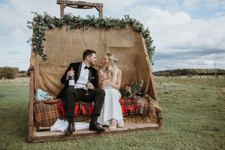 Rustic wedding decor with supermarket wedding cake