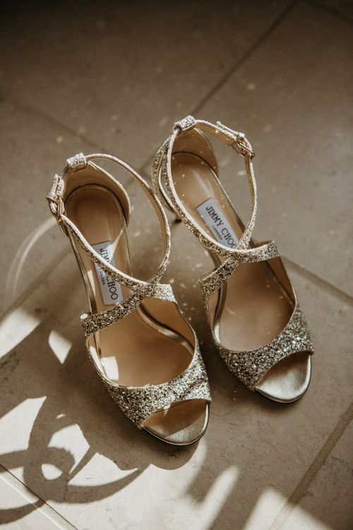 Gold wedding shoes for Norfolk wedding with supermarket wedding cake