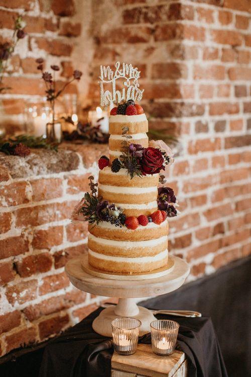 Naked supermarket wedding cake