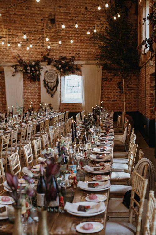 Long wedding tables for barn wedding
