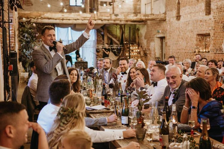 Wedding speeches and toasts at barn venue