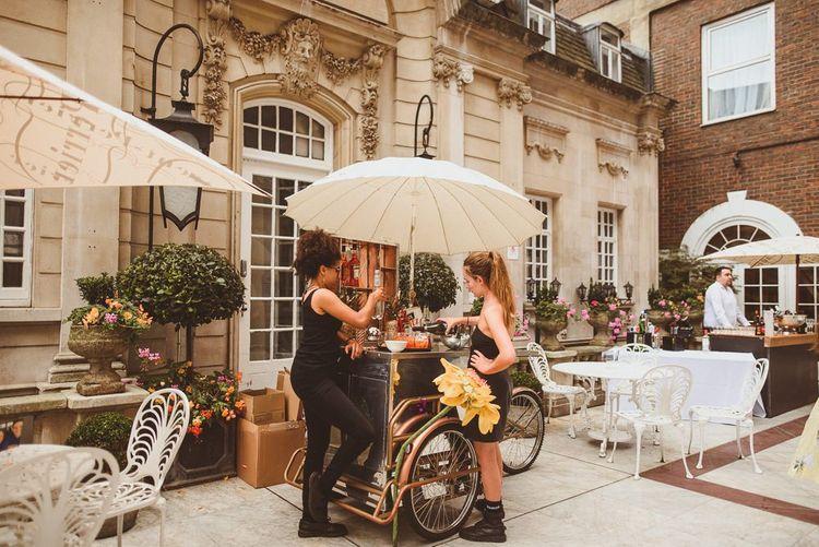 Aperol Spritz pop up bar at outdoor drinks reception in London