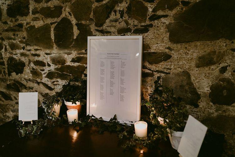 Table Plan in White Frame