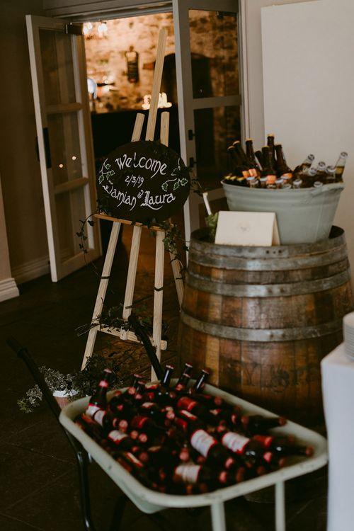 Chalkboard Wedding Sign and Barrel Wedding Decor