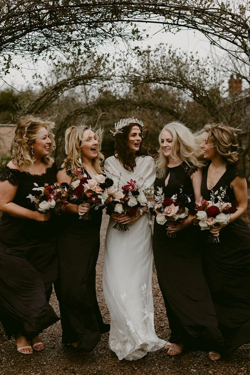 Bridal Party with Bridesmaids in Black Monsoon Dresses and Bride in Halfpenny London Juniper Dress & Lilly Skirt and Luna Bea Headdress