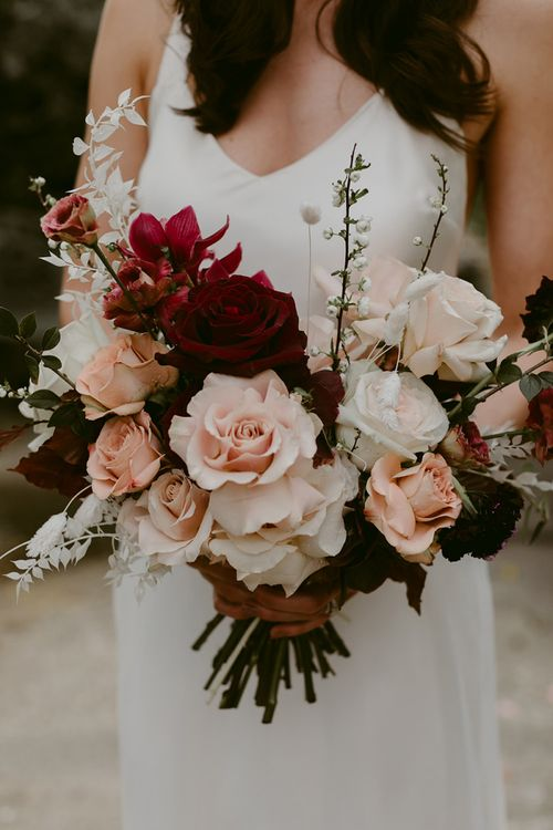 Deep Red and Blush Pink Winter Wedding Bouquet