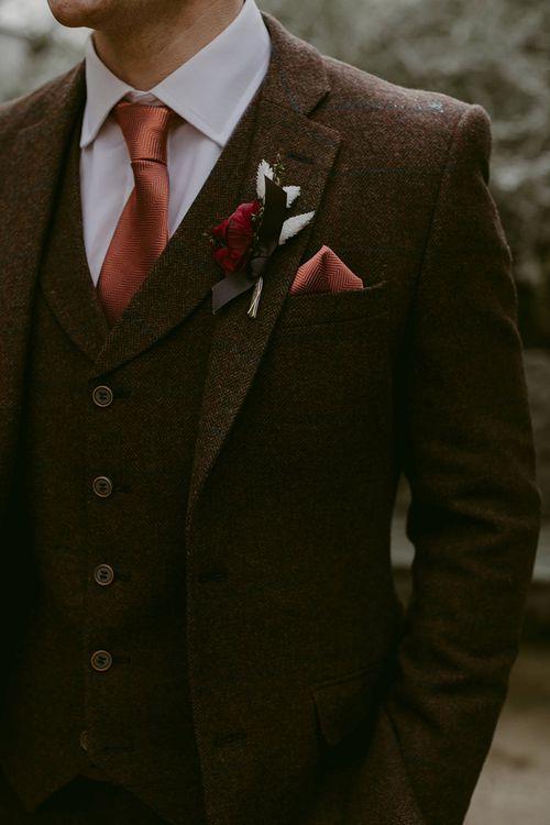 Groom in Brown Wool Wedding Suit
