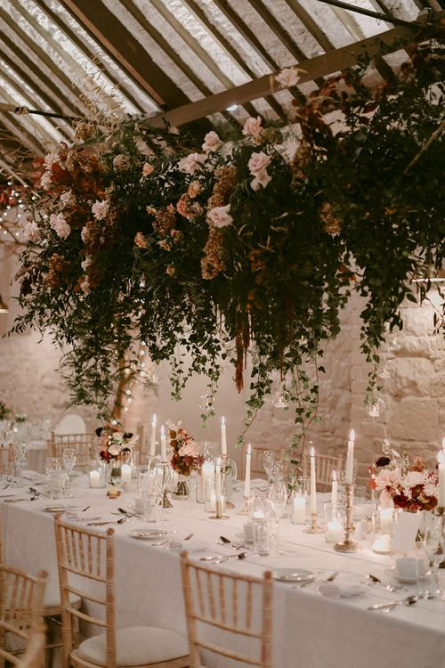 Wedding Reception at Larchfield Estate with Candle Light and Floral Installation