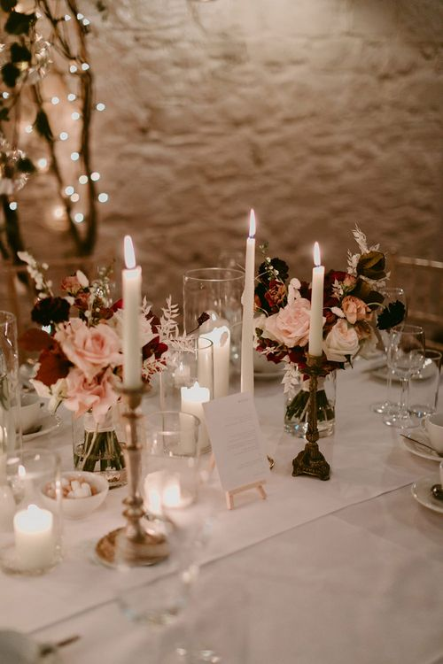 Wedding Reception Table Decor with Candle Light and Wedding Flowers