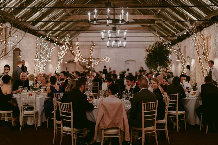 Wedding Reception at Larchfield Estate with  Fairy Lights