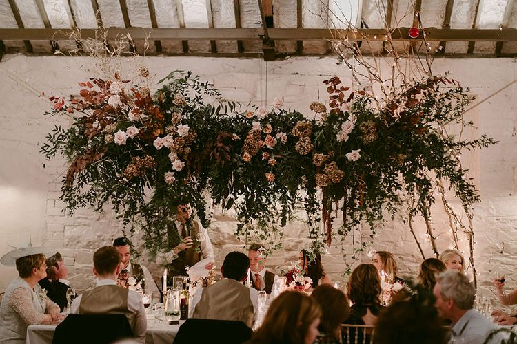 Foliage and Cream Rose Floral Installation