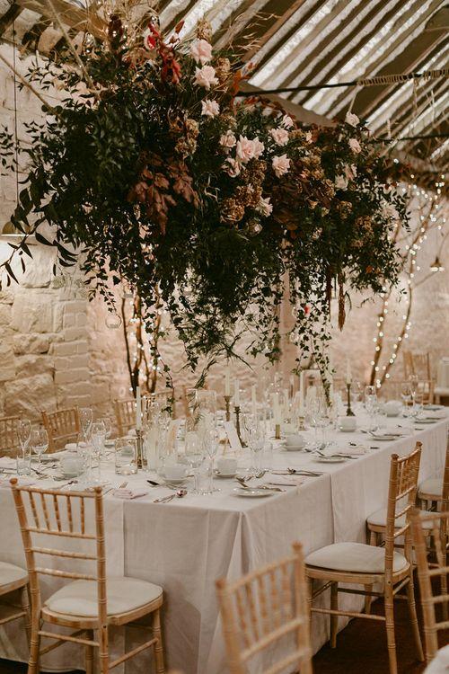 Wedding Reception Flower Installation at Larchfield Estate, Northern Ireland