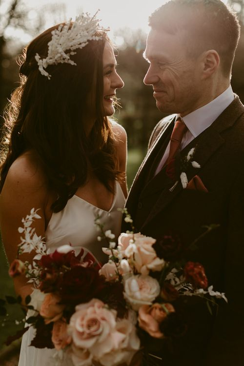 Golden Hour Portrait with Bride in Halfpenny London Juniper Dress & Lilly Skirt and Luna Bea Headdress with Groom in Brown Wool Suit