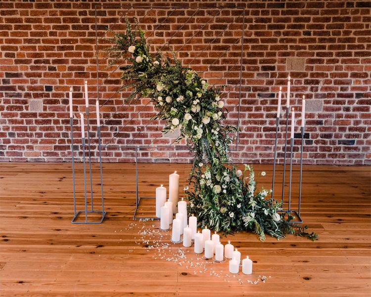 Stunning wedding decor for Altar at Haarlem Mill Wedding