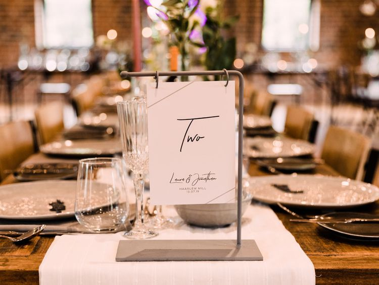 Contemporary wedding table number