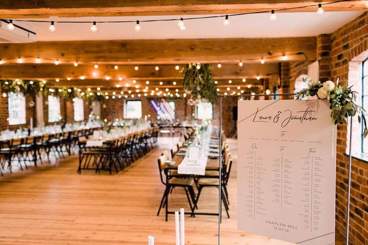Harlem Mill wedding venue with contemporary wedding stationery and signs