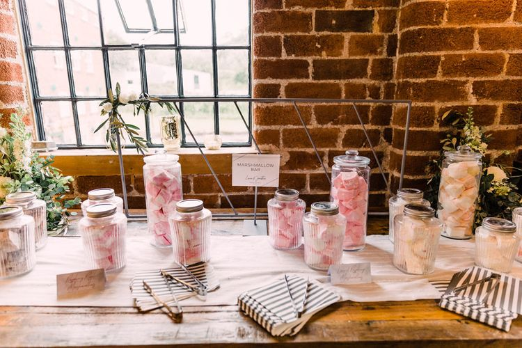 Marshmallow bar at industrial chic Haarlem Mill wedding